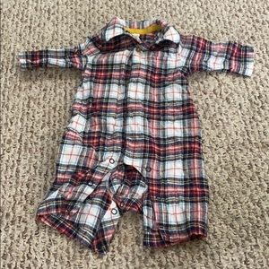 Baby Boden boys newborn plaid flannel one piece